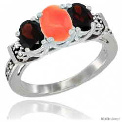 14K White Gold Natural Coral & Garnet Ring 3-Stone Oval with Diamond Accent