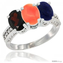 14K White Gold Natural Garnet, Coral & Lapis Ring 3-Stone 7x5 mm Oval Diamond Accent