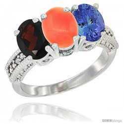 14K White Gold Natural Garnet, Coral & Tanzanite Ring 3-Stone 7x5 mm Oval Diamond Accent