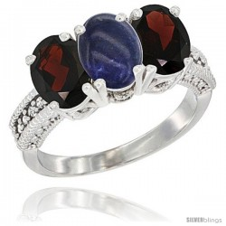 14K White Gold Natural Lapis & Garnet Sides Ring 3-Stone 7x5 mm Oval Diamond Accent