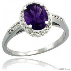 Sterling Silver Diamond Natural Amethyst Ring Oval Stone 8x6 mm 1.17 ct 3/8 in wide