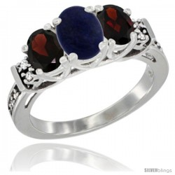 14K White Gold Natural Lapis & Garnet Ring 3-Stone Oval with Diamond Accent