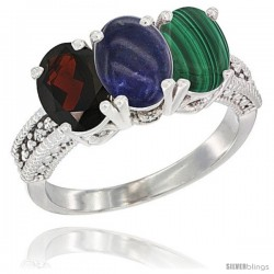 14K White Gold Natural Garnet, Lapis & Malachite Ring 3-Stone 7x5 mm Oval Diamond Accent