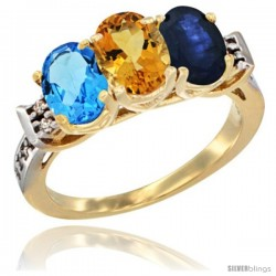 10K Yellow Gold Natural Swiss Blue Topaz, Citrine & Blue Sapphire Ring 3-Stone Oval 7x5 mm Diamond Accent
