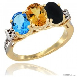 10K Yellow Gold Natural Swiss Blue Topaz, Citrine & Black Onyx Ring 3-Stone Oval 7x5 mm Diamond Accent