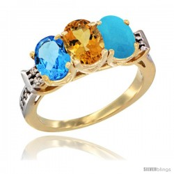10K Yellow Gold Natural Swiss Blue Topaz, Citrine & Turquoise Ring 3-Stone Oval 7x5 mm Diamond Accent