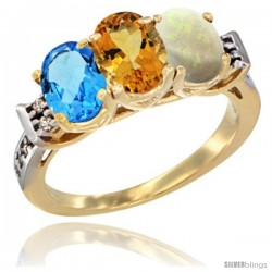 10K Yellow Gold Natural Swiss Blue Topaz, Citrine & Opal Ring 3-Stone Oval 7x5 mm Diamond Accent