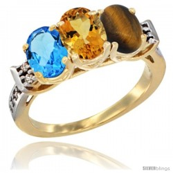 10K Yellow Gold Natural Swiss Blue Topaz, Citrine & Tiger Eye Ring 3-Stone Oval 7x5 mm Diamond Accent