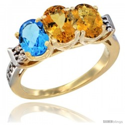 10K Yellow Gold Natural Swiss Blue Topaz, Citrine & Whisky Quartz Ring 3-Stone Oval 7x5 mm Diamond Accent