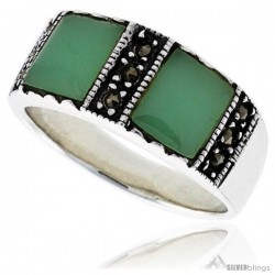 Sterling Silver Oxidized Ring, w/ Two 7mm Square-shaped Green Resin, 5/16 (8 mm) wide