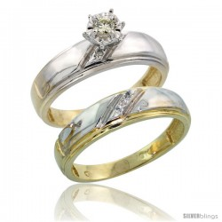 10k Yellow Gold Ladies' 2-Piece Diamond Engagement Wedding Ring Set, 7/32 in wide
