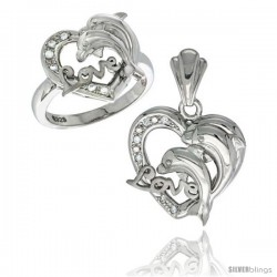 Sterling Silver DOLPHINS HEART LOVE Ring & Pendant Set CZ Stones Rhodium Finished