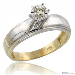 10k Yellow Gold Diamond Engagement Ring, 7/32 in wide
