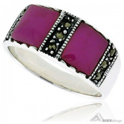 Sterling Silver Oxidized Ring, w/ Two 7mm Square-shaped Purple Resin, 5/16 (8 mm) wide