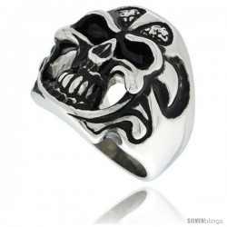 Surgical Steel Biker Skull Ring with Tribal Pattern Helmet
