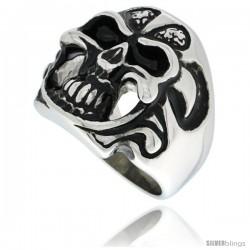 Surgical Steel Biker Skull Ring with Tribal Pattern Helmet