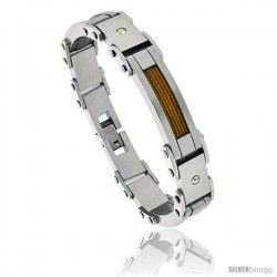 Stainless Steel Men's Cable Bracelet Gold Finish Crystals Accen, 8 1/2 in
