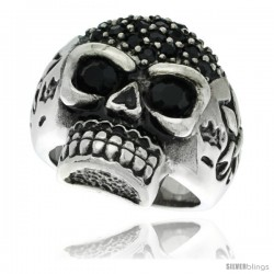 Surgical Steel Biker Skull Ring Black CZ Eyes & Fleur de Lis on each Side