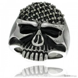 Surgical Steel Biker Skull Ring Black Cubic Zirconia Pave