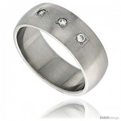 Surgical Steel Cubic Zirconia 3-stone Ring Domed 8mm Wedding Band