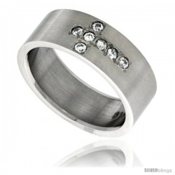 Surgical Steel Cubic Zirconia 6-Stone Cross Ring 8mm Wedding Band