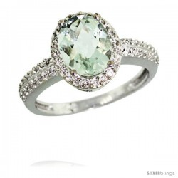 Sterling Silver Diamond Natural Green Amethyst Ring Ring Oval Stone 9x7 mm 1.76 ct 1/2 in wide