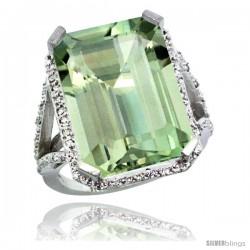 14k White Gold Diamond Green-Amethyst Ring 14.96 ct Emerald shape 18x13 Stone 13/16 in wide