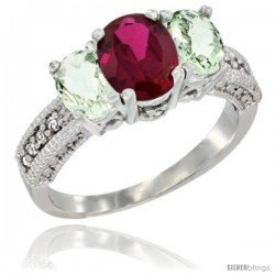 14k White Gold Ladies Oval Natural Ruby 3-Stone Ring with Green Amethyst Sides Diamond Accent