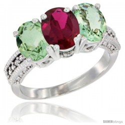 14K White Gold Natural Ruby & Green Amethyst Sides Ring 3-Stone 7x5 mm Oval Diamond Accent