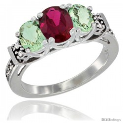 14K White Gold Natural High Quality Ruby & Green Amethyst Ring 3-Stone Oval with Diamond Accent