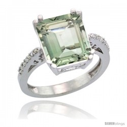 14k White Gold Diamond Green-Amethyst Ring 5.83 ct Emerald Shape 12x10 Stone 1/2 in wide