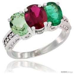 14K White Gold Natural Green Amethyst, Ruby & Emerald Ring 3-Stone 7x5 mm Oval Diamond Accent