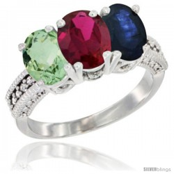 14K White Gold Natural Green Amethyst, Ruby & Blue Sapphire Ring 3-Stone 7x5 mm Oval Diamond Accent