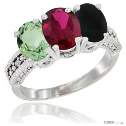 14K White Gold Natural Green Amethyst, Ruby & Black Onyx Ring 3-Stone 7x5 mm Oval Diamond Accent