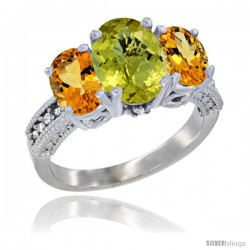 14K White Gold Ladies 3-Stone Oval Natural Lemon Quartz Ring with Citrine Sides Diamond Accent