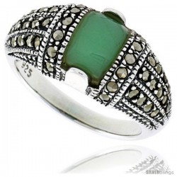 """Sterling Silver Oxidized Dome Ring w/ Green Resin, 3/8"""" (10 mm) wide"""