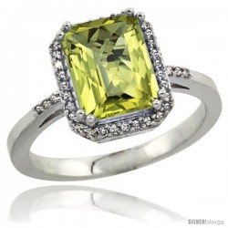 Sterling Silver Diamond Natural Lemon Quartz Ring 2.53 ct Emerald Shape 9x7 mm, 1/2 in wide