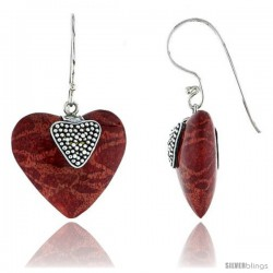 "Sterling Silver Heart Natural Red Coral Earrings 3/4"" (20 mm)"