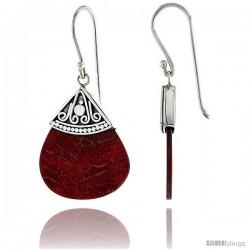 "Sterling Silver Teardrop-shape Natural Red Coral Earrings 1"" (25 mm)"