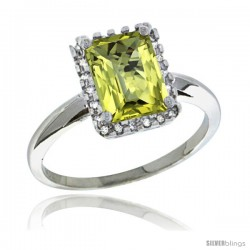 Sterling Silver Diamond Natural Lemon Quartz Ring 1.6 ct Emerald Shape 8x6 mm, 1/2 in wide