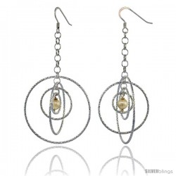 Sterling Silver Dangling Circles Earrings, 69mm (2 3/4 in) long, Diamond Cut Tubing, Swarovski Cream Pearl Center