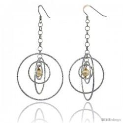Sterling Silver Dangling Circles Earrings, 69mm (2 3/4 in) long, Diamond Cut Tubing, Swarovski Cream Pearl Center