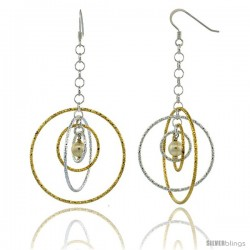 Sterling Silver Two-Tone Diamond Cut Tubing Dangling Circles Earrings w/ Swarovski Pearls, 2-3/4 in. tall