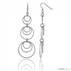 Sterling Silver Diamond Cut Tubing Graduated Dangling Circles Earrings, 3-1/4 in. tall