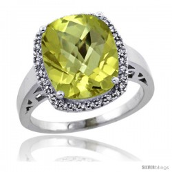 Sterling Silver Diamond Natural Lemon Quartz Ring 5.17 ct Checkerboard Cut Cushion 12x10 mm, 1/2 in wide