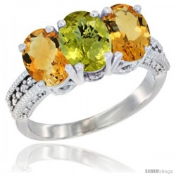 14K White Gold Natural Lemon Quartz & Citrine Sides Ring 3-Stone 7x5 mm Oval Diamond Accent