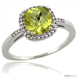 Sterling Silver Diamond Natural Lemon Quartz Ring 1.5 ct Checkerboard Cut Cushion Shape 7 mm, 3/8 in wide