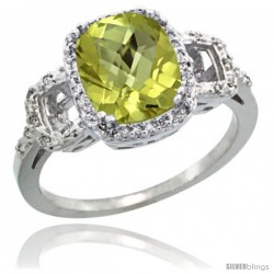 Sterling Silver Diamond Natural Lemon Quartz Ring 2 ct Checkerboard Cut Cushion Shape 9x7 mm, 1/2 in wide