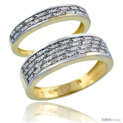 14k Gold 2-Piece His (6.5mm) & Hers (3.5mm) Diamond Wedding Ring Band Set w/ 0.18 Carat Brilliant Cut Diamonds