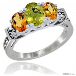 14K White Gold Natural Lemon Quartz & Citrine Ring 3-Stone Oval with Diamond Accent